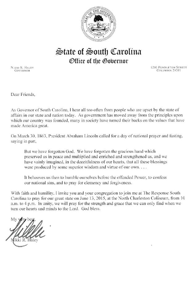 The Response - Join Governor Nikki Haley in Praying For Our