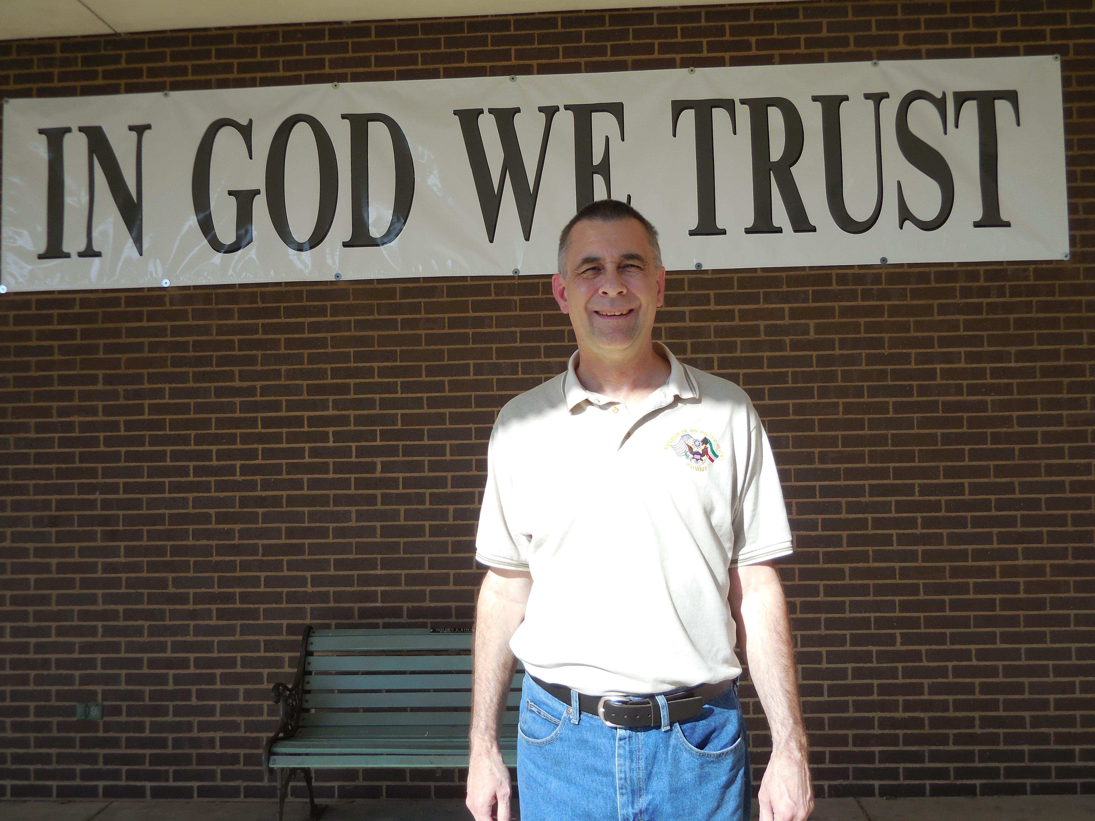 Steph. Co. Board Chairman William Hadley - IN GOD WE TRUST BANNER