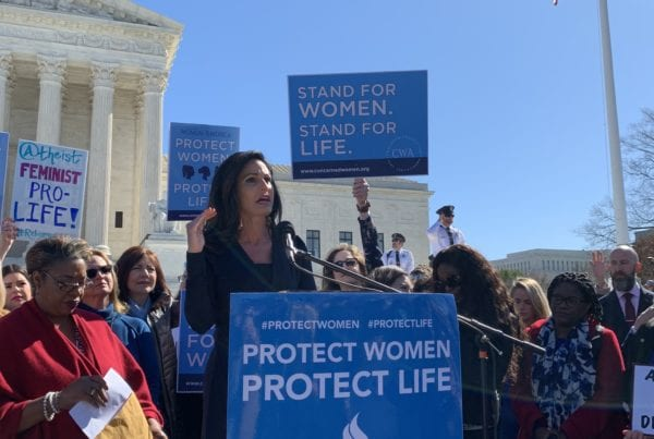 CWA CEO and President Penny Nance speaking at the Protect Women Protect Life rally at the Supreme Court
