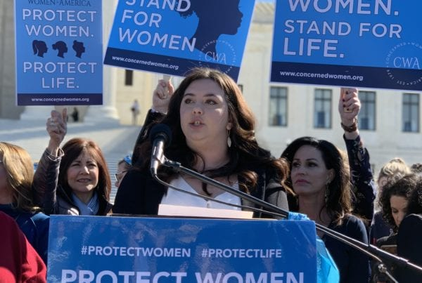YWA leader Lillian Knight speaking at Protect Women Protect Life rally at the Supreme Court