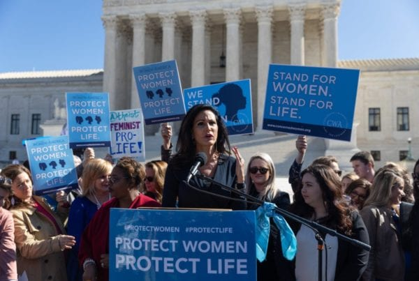 CWA CEO and President Penny Nance speaking at Protect Women Protect Life rally at the Supreme Court