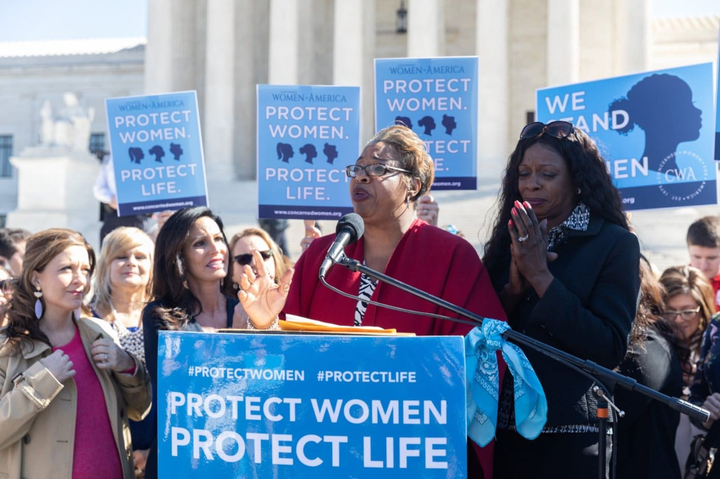 CWA member Sancha Smith speaking at Protect Women Protect Life rally at the Supreme Court